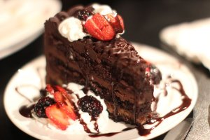 Chocolate Cake with fresh fruit and whipped cream